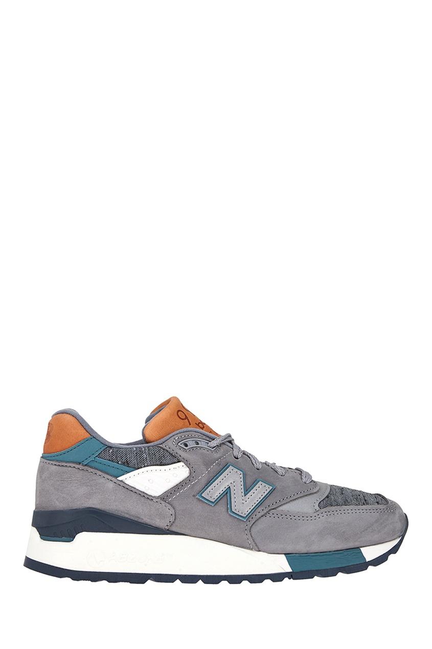 New Balance Кожаные кроссовки №998 billionaire серые кроссовки с бархатными вставками