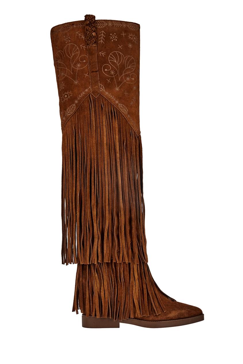 женские ботфорты ash, коричневые