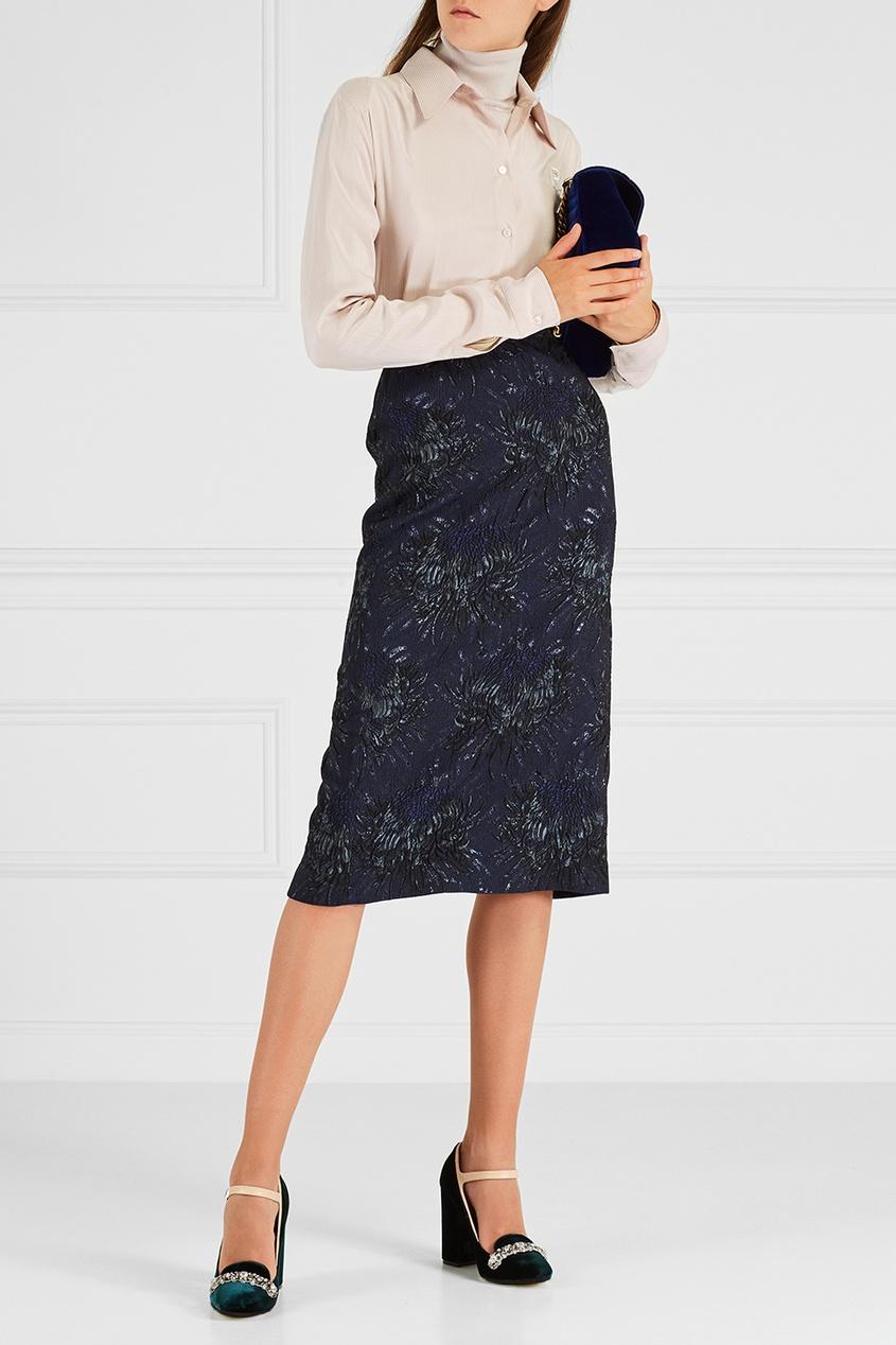 rochas бордовая юбка колокол Rochas Жаккардовая юбка