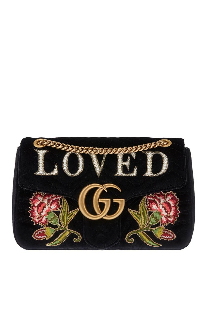 Gucci Бархатная сумка GG Marmont gucci кожаные туфли gg marmont