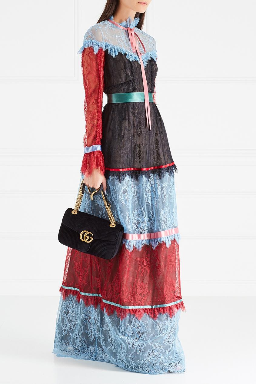 Gucci Бархатная сумка GG Marmont