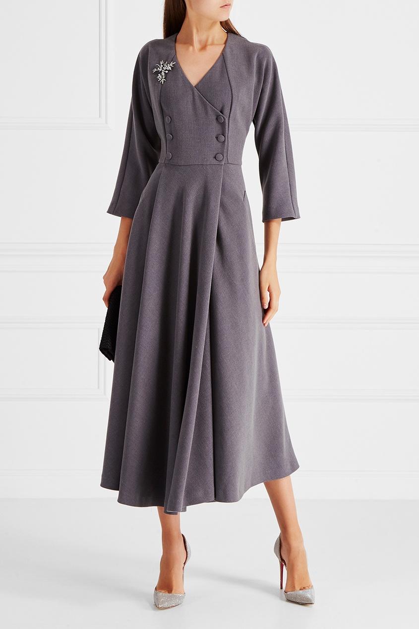 Однотонное платье Cyrille Gassiline BASE. Цвет: серый