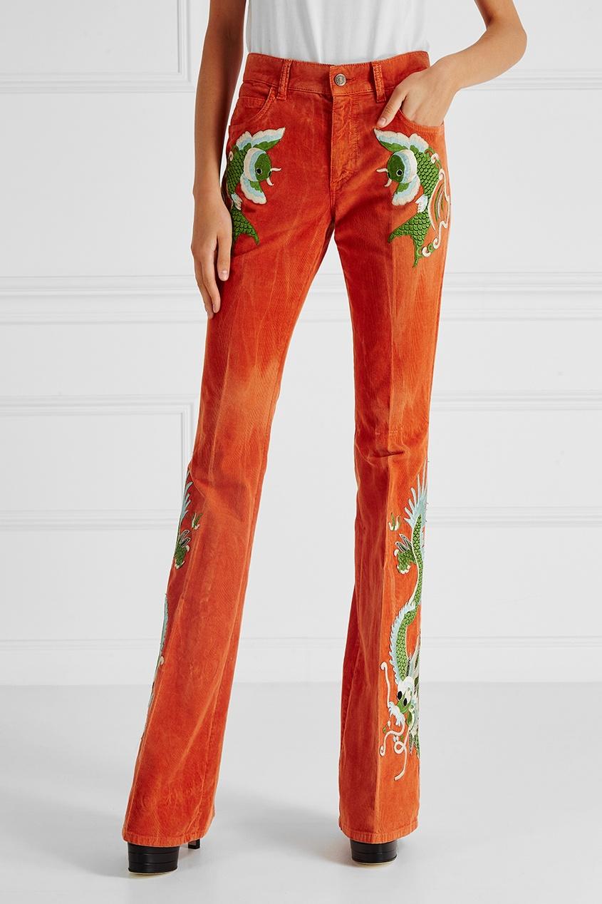 Gucci Вельветовые брюки с вышивкой