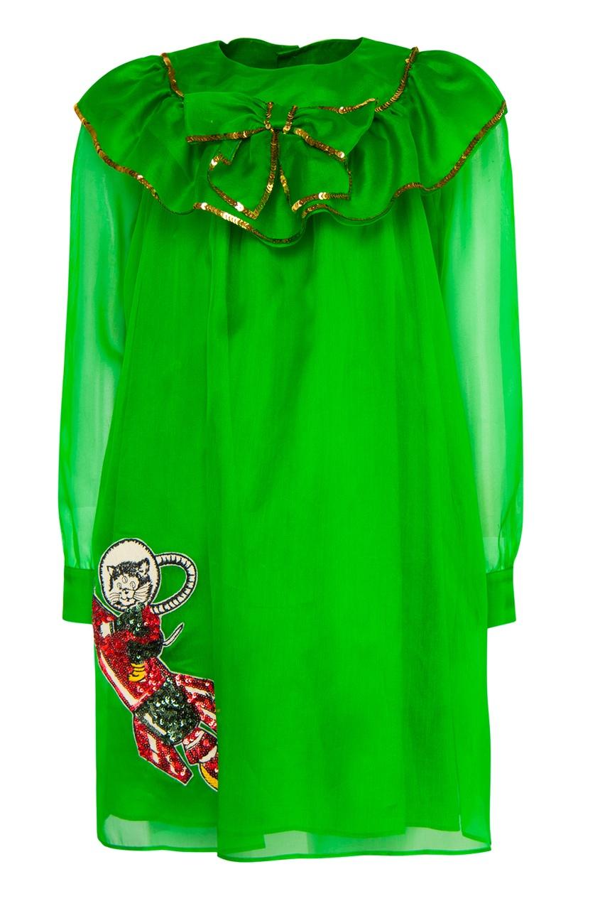 Купить Шелковое платье от Gucci Kids зеленого цвета