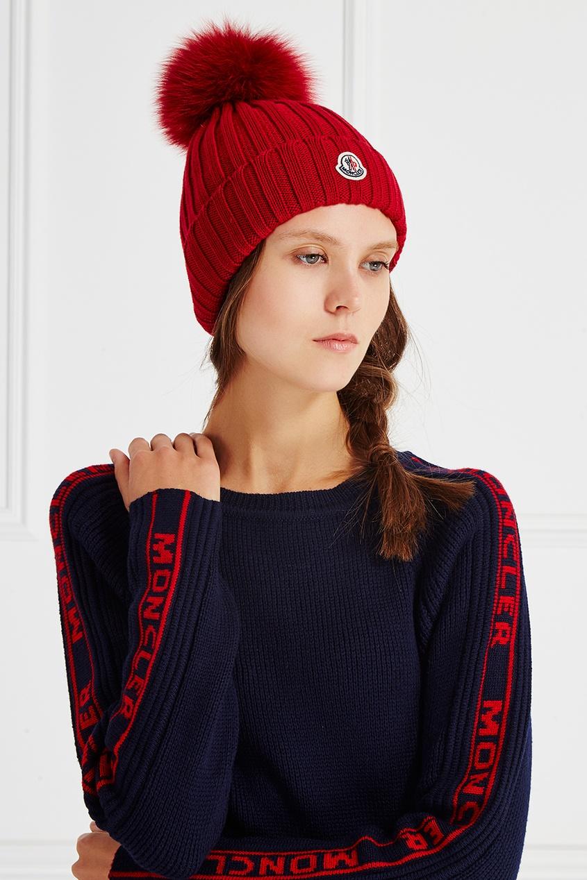 Moncler Шерстяная шапка с помпоном шапки mialt шапка