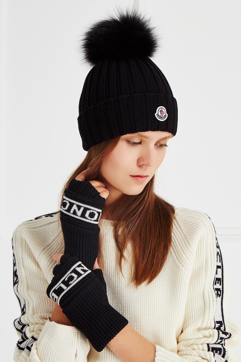 Moncler Шерстяные перчатки с логотипом fendi шерстяные перчатки с логотипом