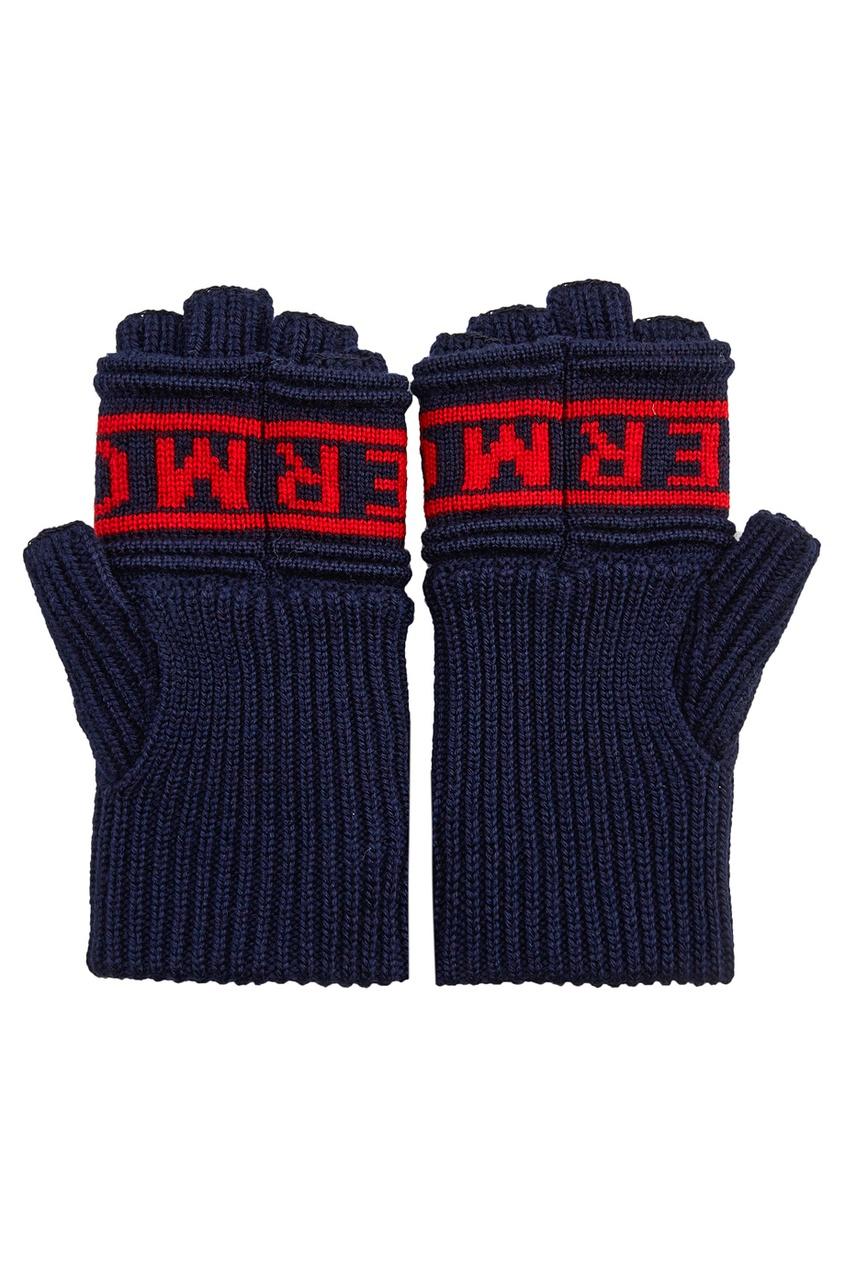 Moncler Шерстяные перчатки с логотипом перчатки без пальцев шерстяные с рисунком розовые