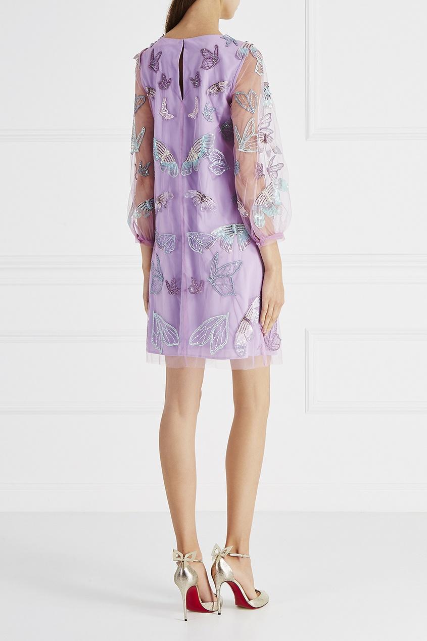 Marchesa Notte Платье с вышивкой бисером