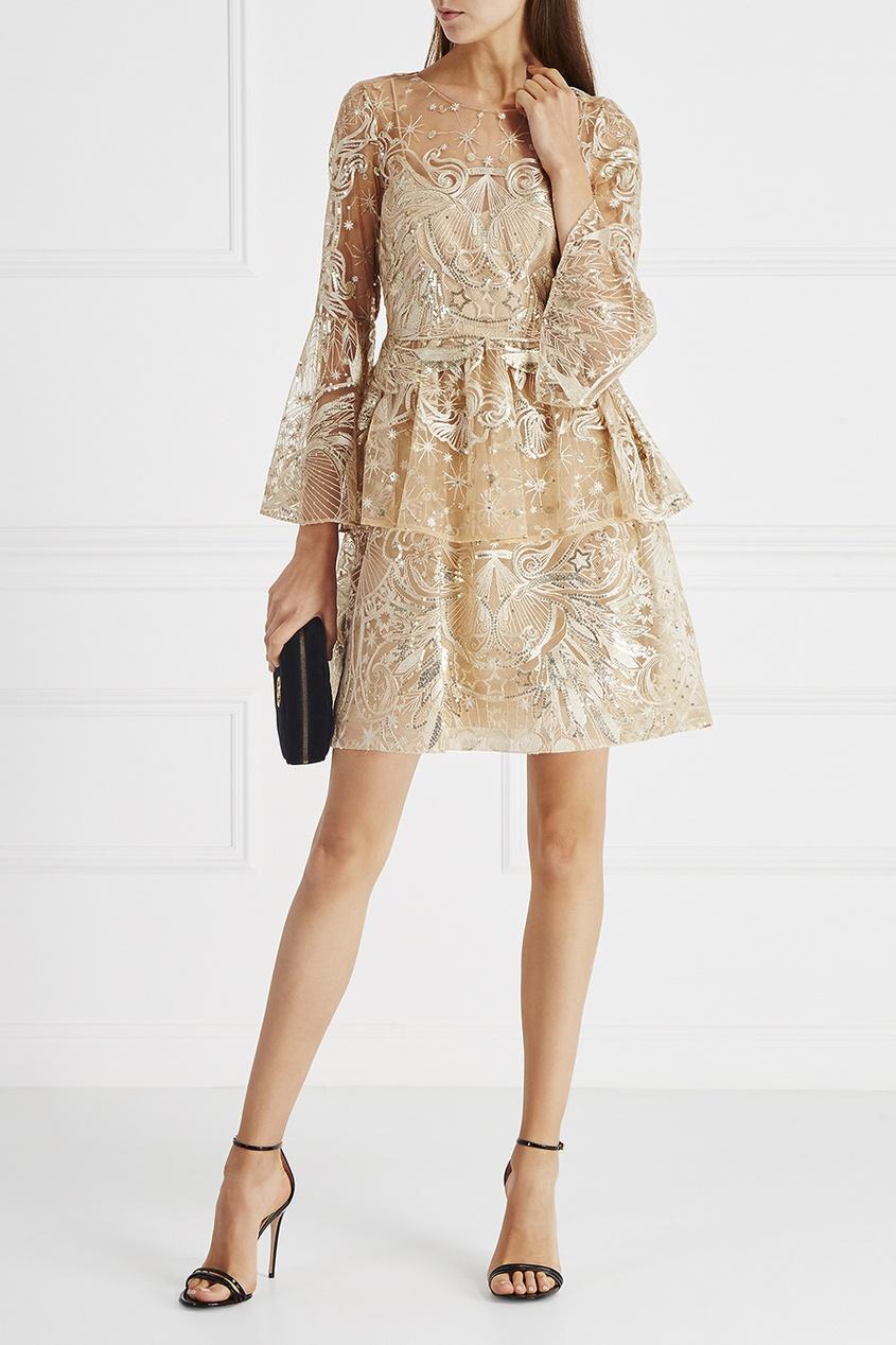 Marchesa Notte Платье с люреском и пайетками