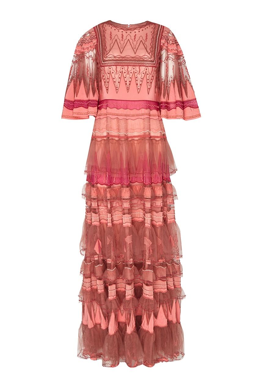 Valentino Платье с воланами и вышивкой