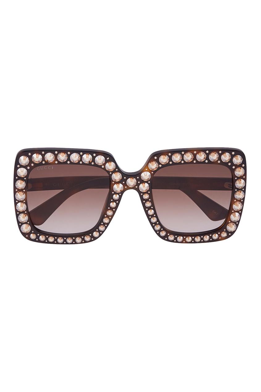 Gucci Солнцезащитные очки с кристаллами vogue vogel очки черного кадра серебряного покрытия линза мода полной оправе очки vo5067sd w44s6g 56мм