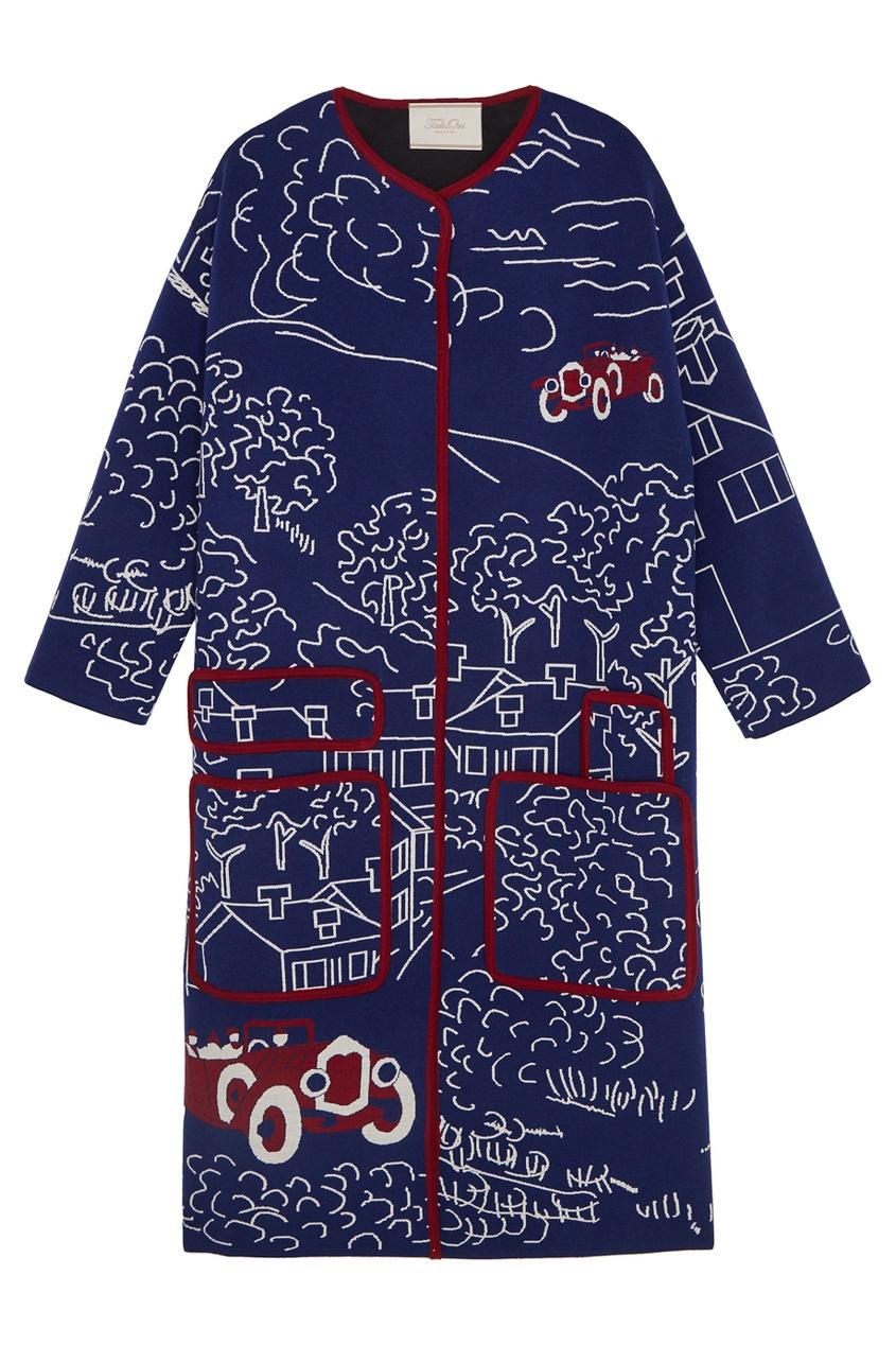 Пальто с рисунком-интарсия