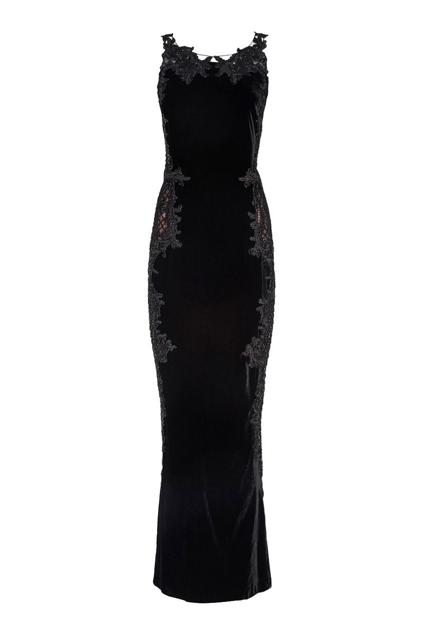 Marchesa Бархатное платье с вышивкой платье с вышивкой
