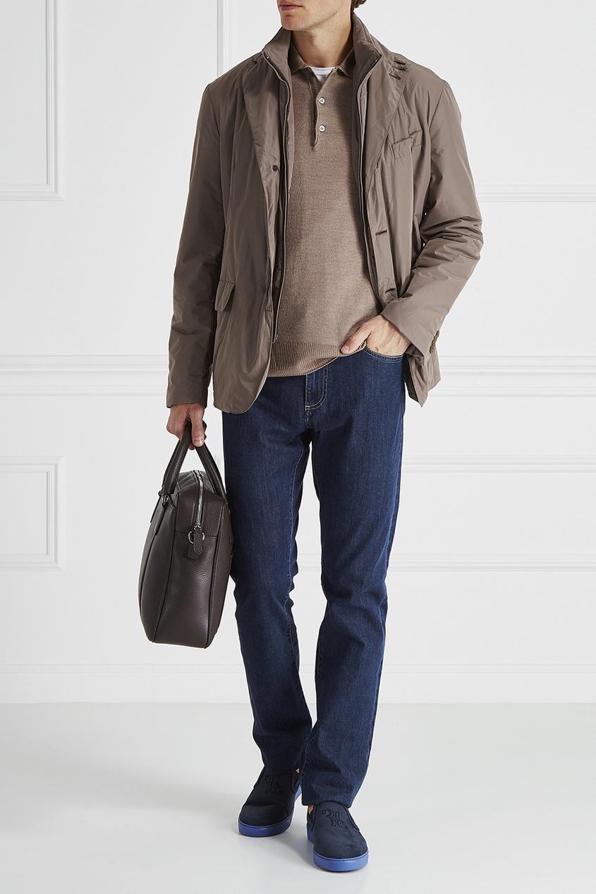 Canali Шерстяной свитер поло мужская одежда с длинным рукавом с капюшоном с длинным рукавом