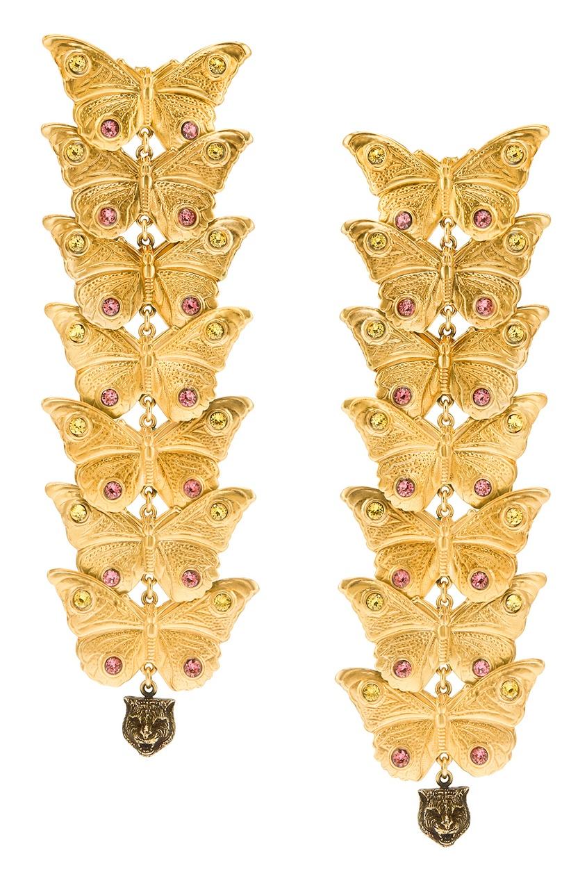 Gucci Серьги с кристаллами gucci замшевые туфли с кристаллами и жемчугом