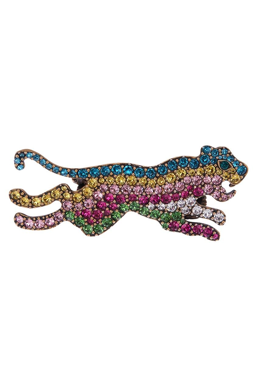 Gucci Кольцо с разноцветными кристаллами