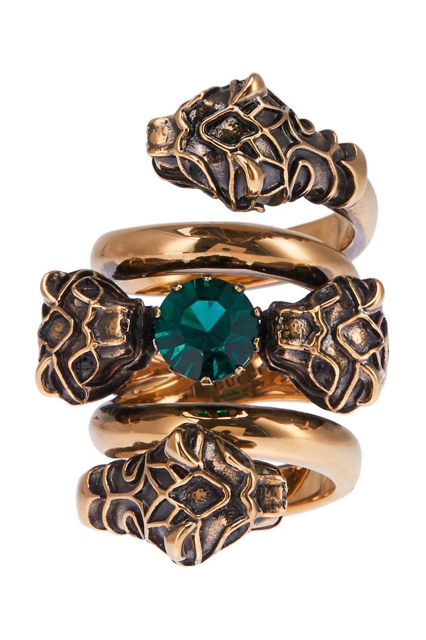Gucci Кольцо с зеленым кристаллом женское кольцо brosway стальное кольцо с кристаллом swarovski bfe32a 17