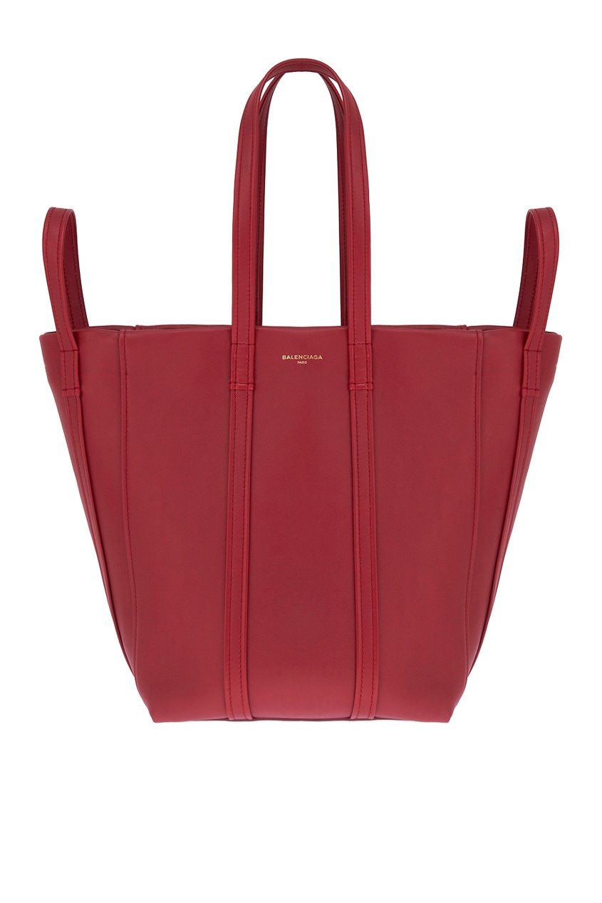 цена Balenciaga Бордовая кожаная сумка Laundry Cabas S онлайн в 2017 году
