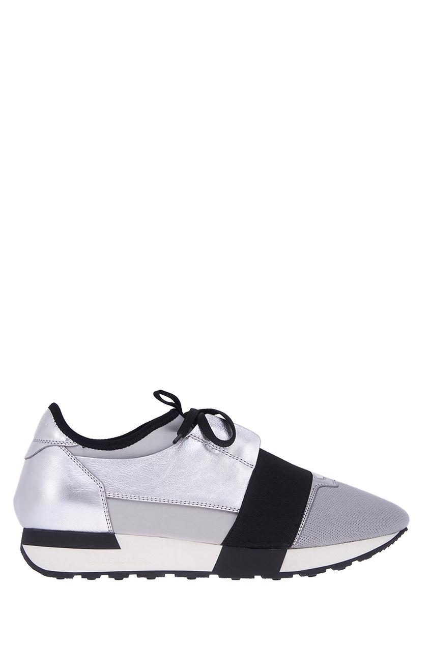 Фото #1: Серебристые текстильные кроссовки Race