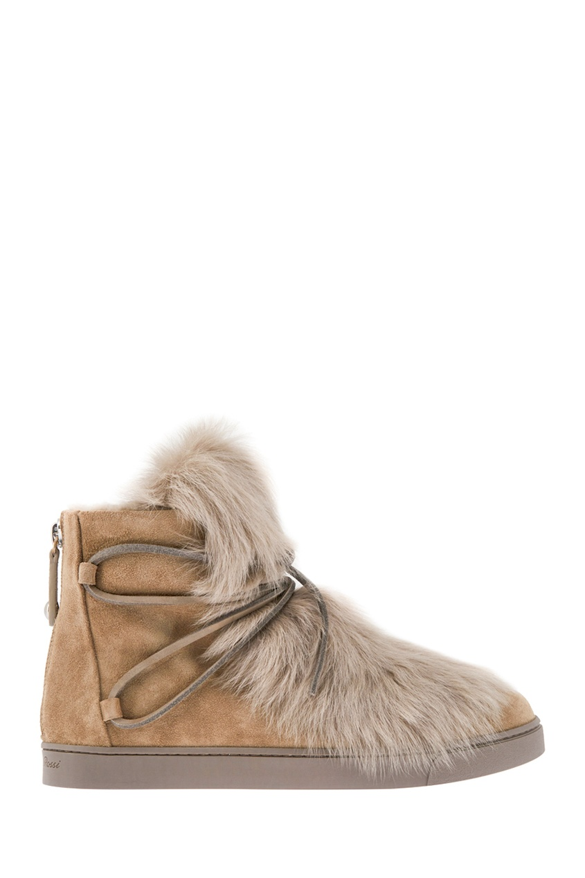 Gianvito Rossi Замшевые ботинки с мехом цены онлайн