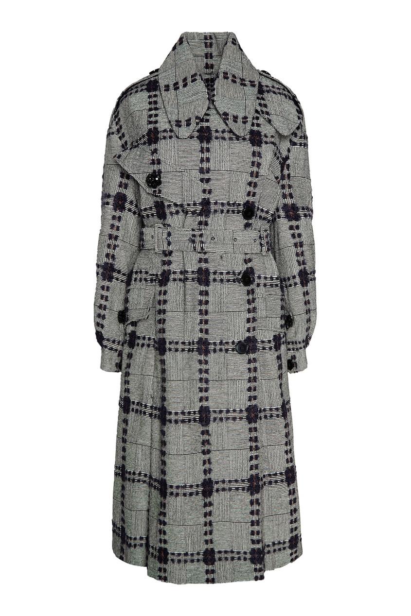 Simone Rocha Шерстяное пальто серое пальто в клетку