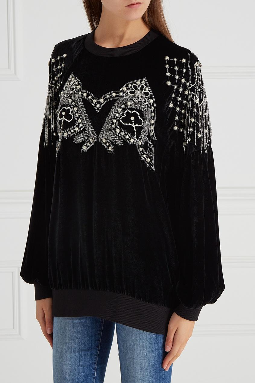 Бархатная блузка с вышивкой