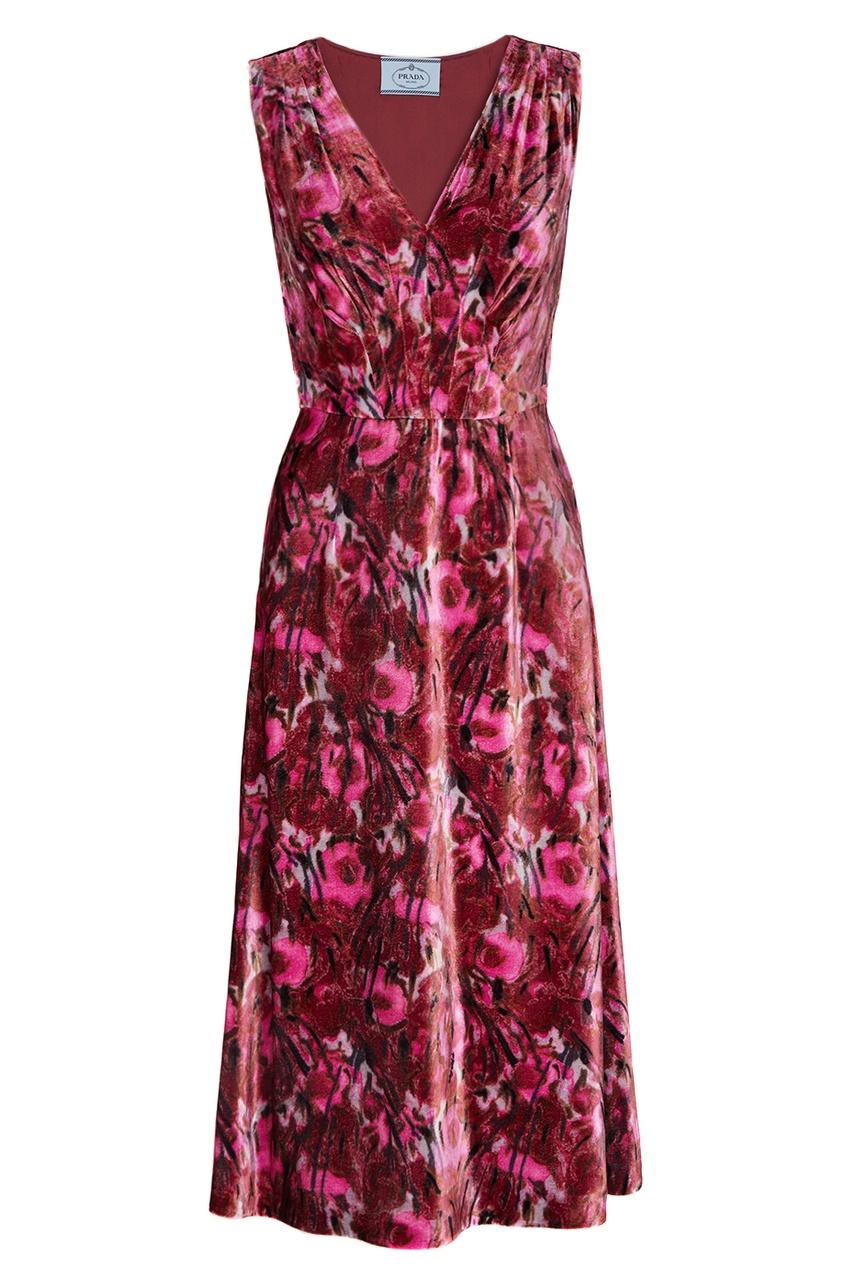 Prada Бархатное платье с принтом vivetta бархатное платье с нашивками