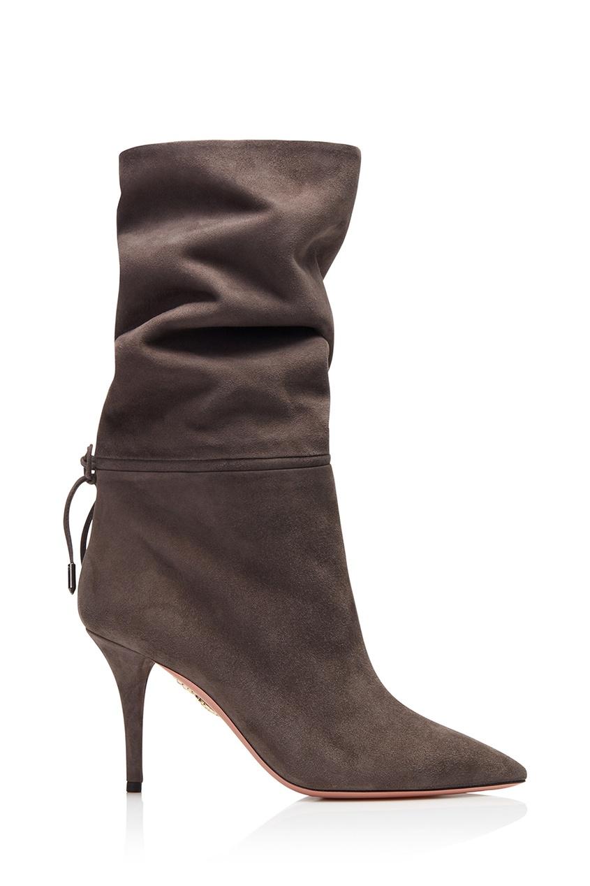 Замшевые полусапоги Aquazzura x Claudia Schiffer Le Marais Boot 85