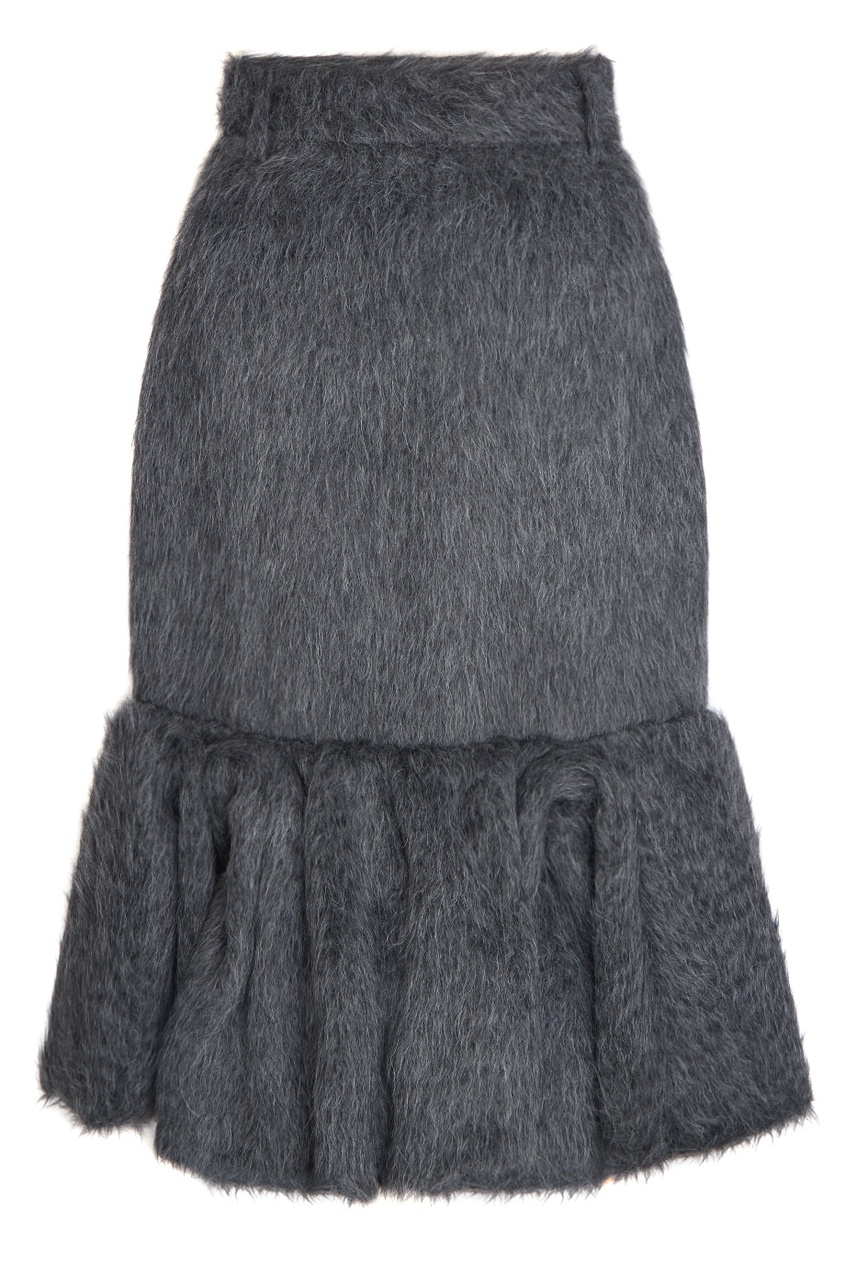 Prada Юбка из альпаки и шелка юбка с цветочным рисунком и воланом 25% шелка