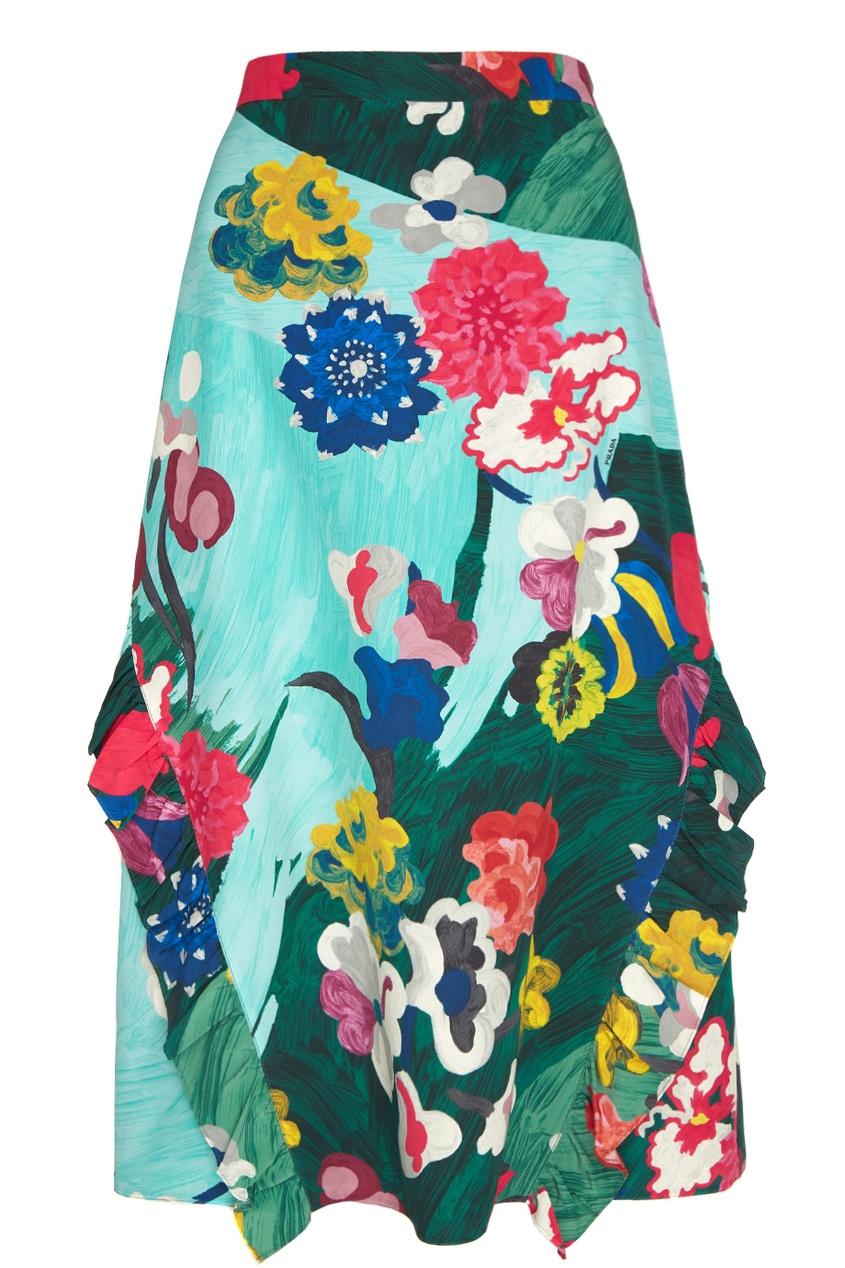 Prada Шелковая юбка юбка с цветочным рисунком и воланом 25% шелка