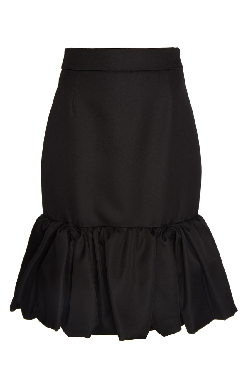 Prada Юбка из шерсти и шелка юбка с цветочным рисунком и воланом 25% шелка