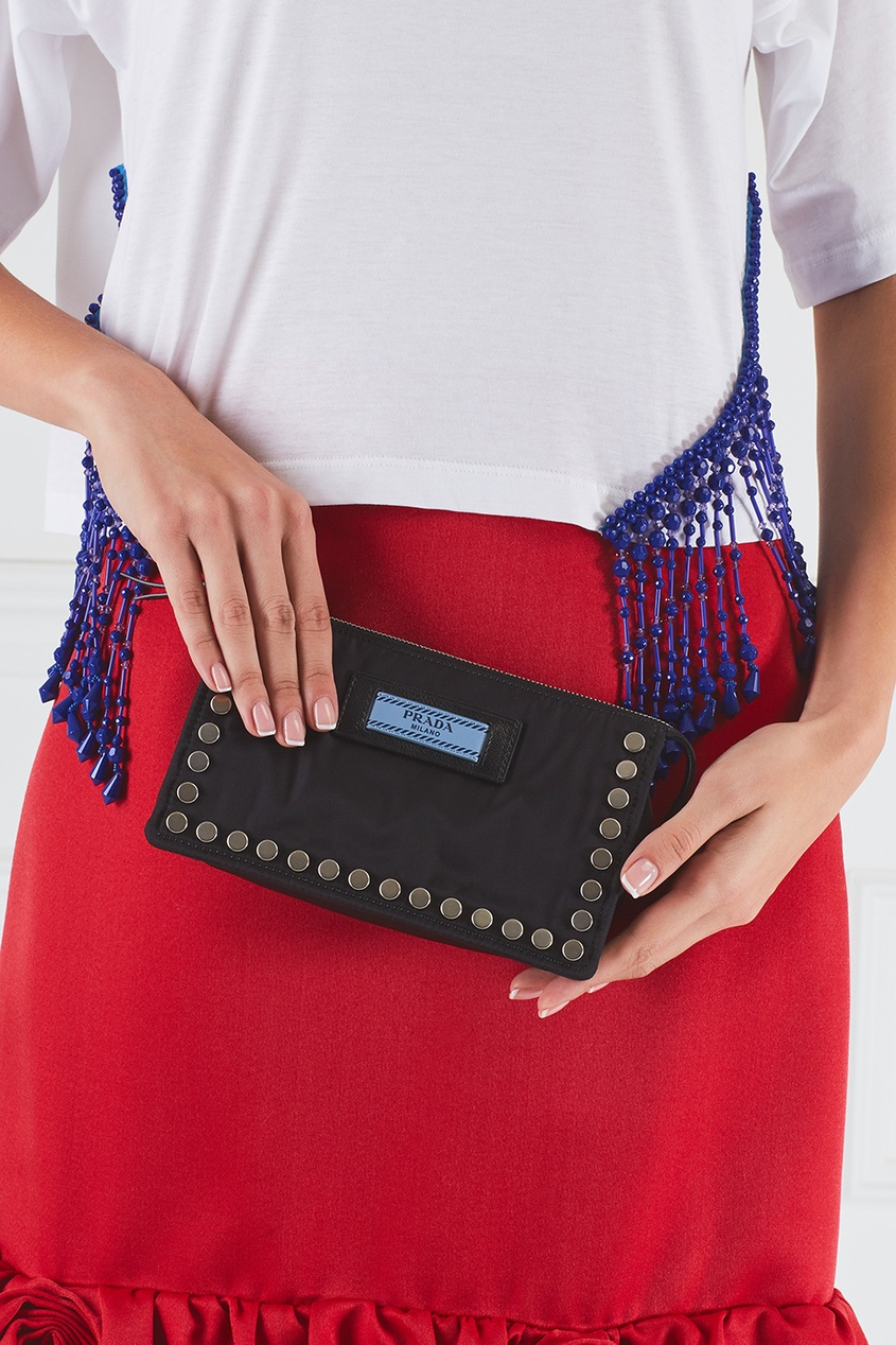 цена Prada Текстильная косметичка Etiquette онлайн в 2017 году