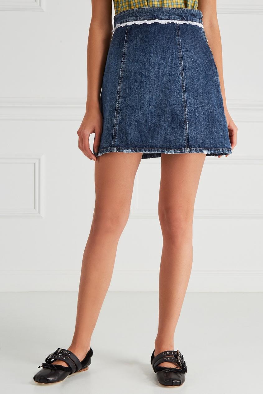 Miu Miu Джинсовая юбка с кружевом