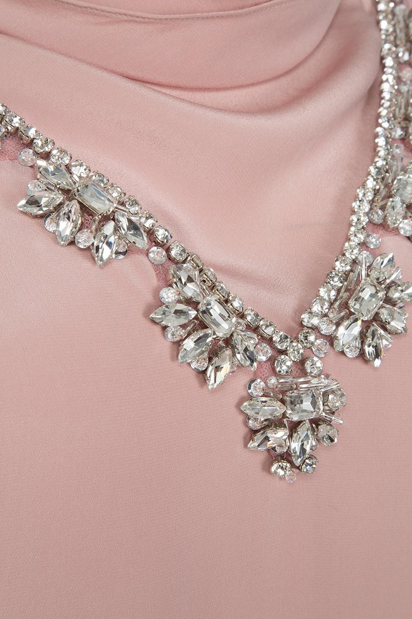 Шелковое платье с вышивкой кристаллами