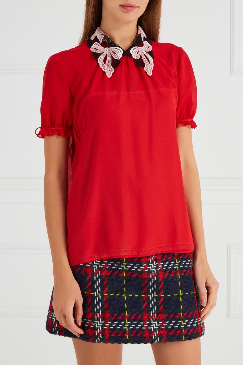 Шелковая блузка воротником