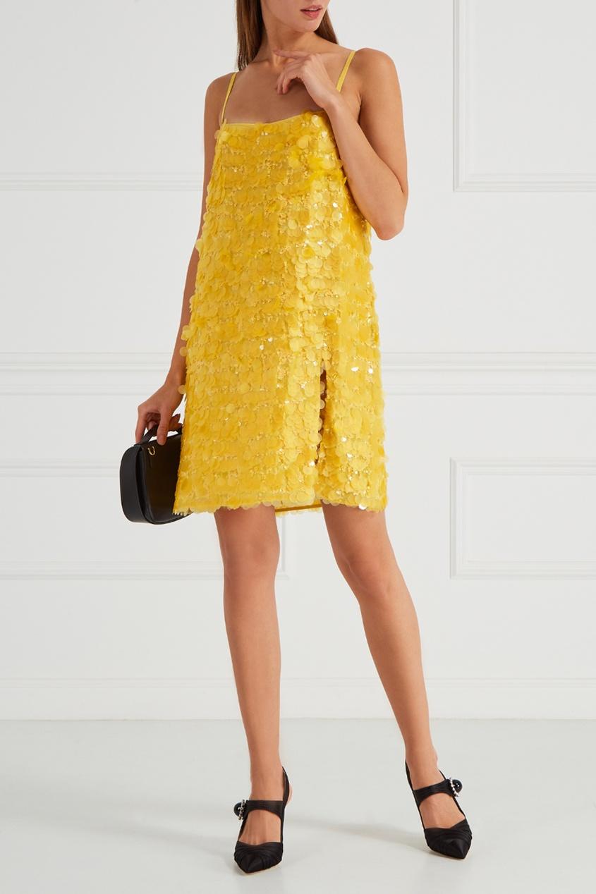 Miu Miu Шелковое платье с пайетками miu miu бархатное платье