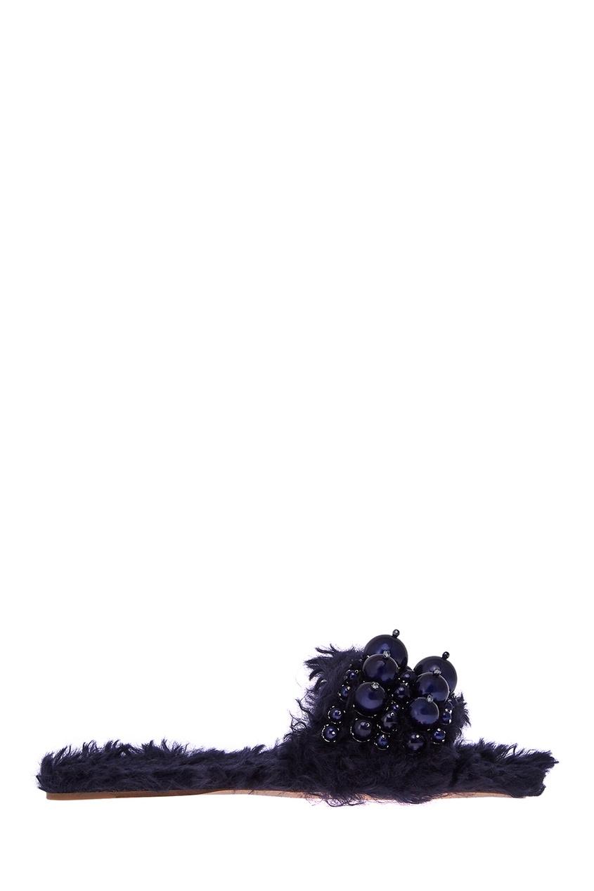 Синие слиперы из меха
