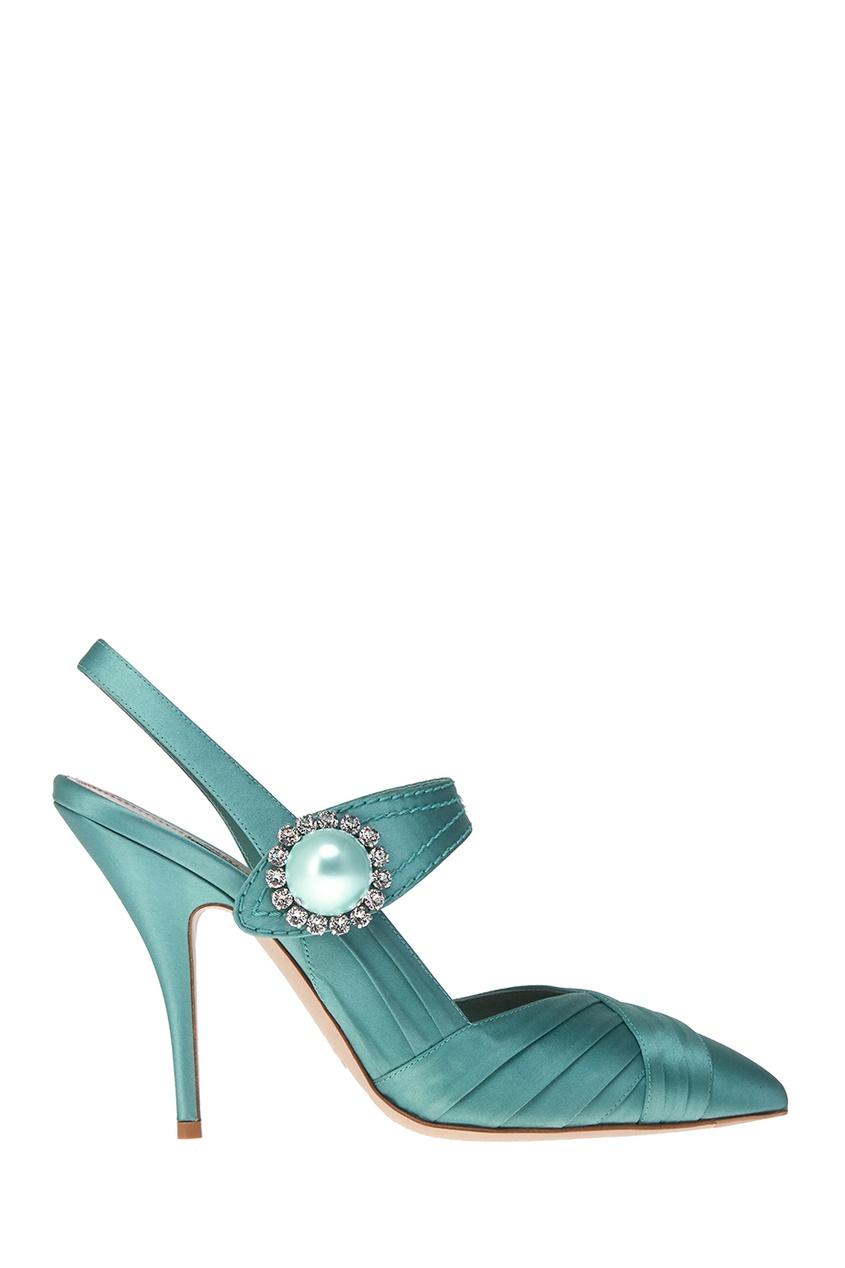 Зеленые туфли из сатина с кристаллами