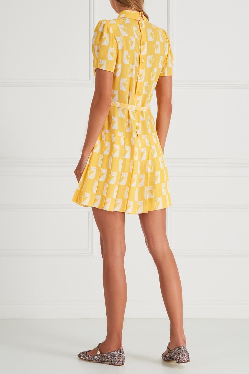Платье из крепа с принтом