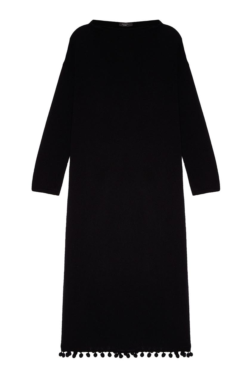Шерстяное платье с помпонами