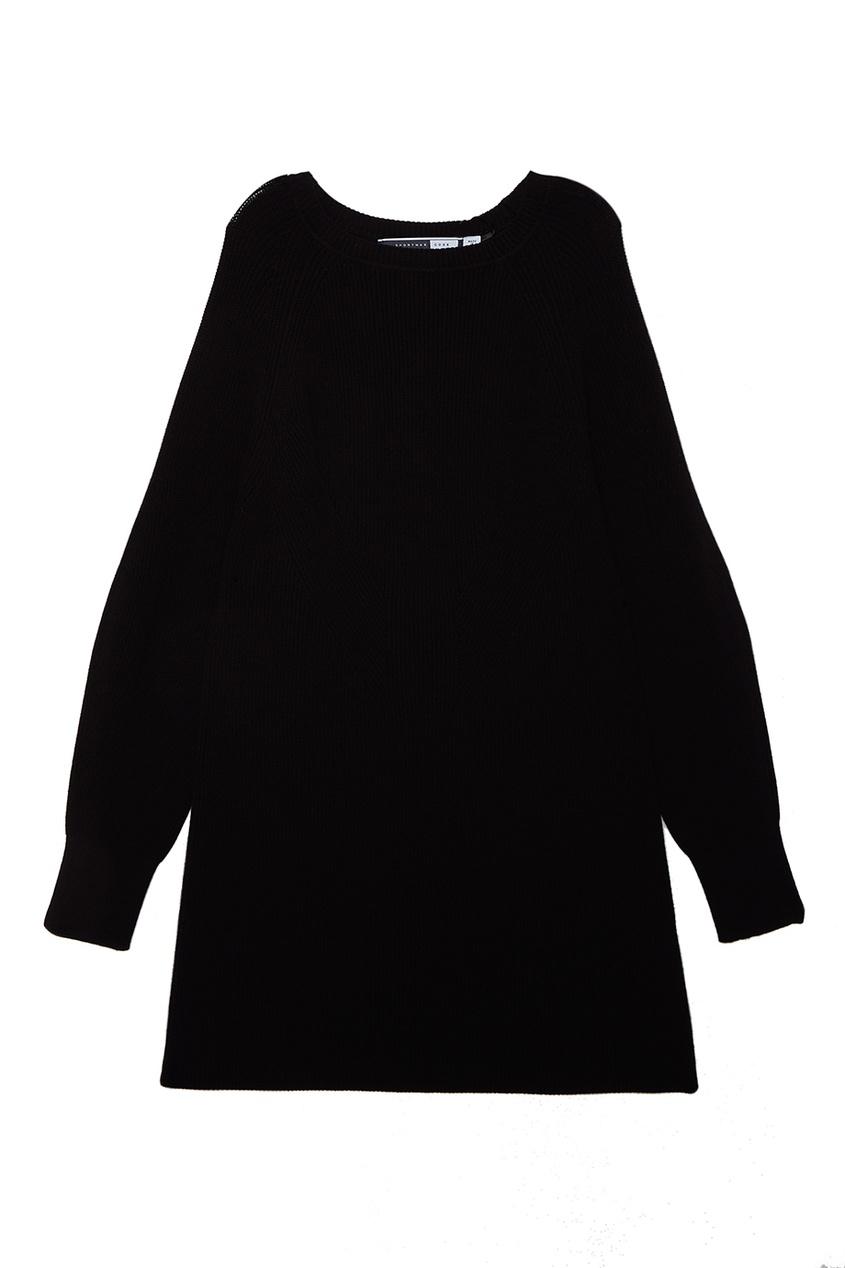 Вязанное платье в рубчик