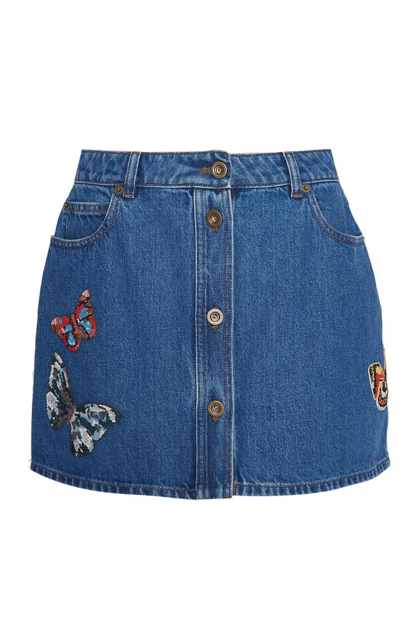 Джинсовая юбка с бабочками