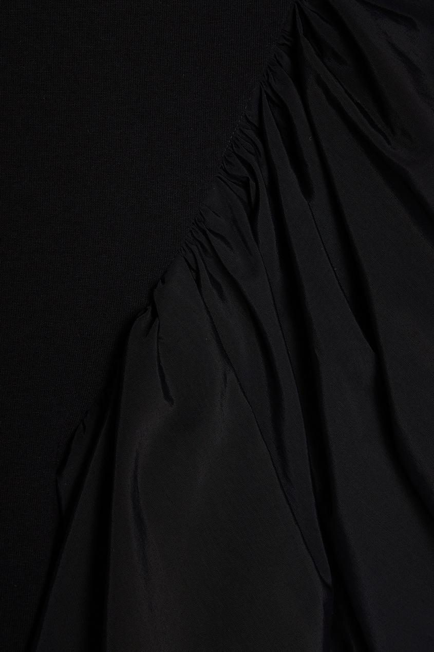 Хлопковая блузка с асимметричным воланом