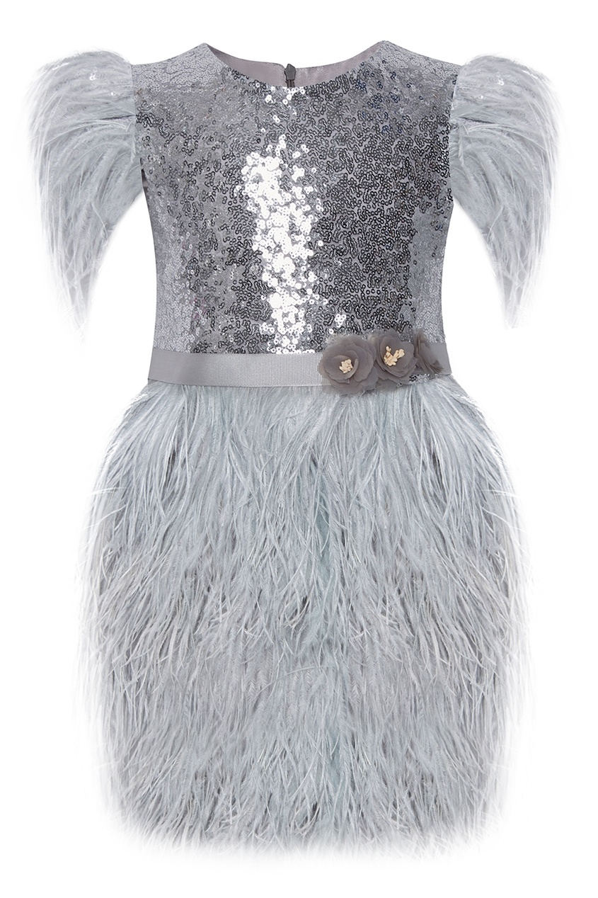 Платье с перьями Silver Baby