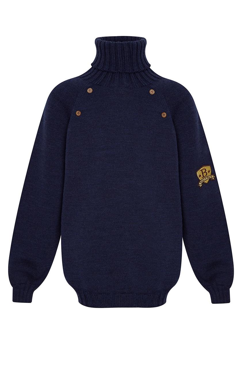 Balloon and Butterfly Синий шерстяной свитер пальто твидовое с рукавами ¾ с узором шеврон