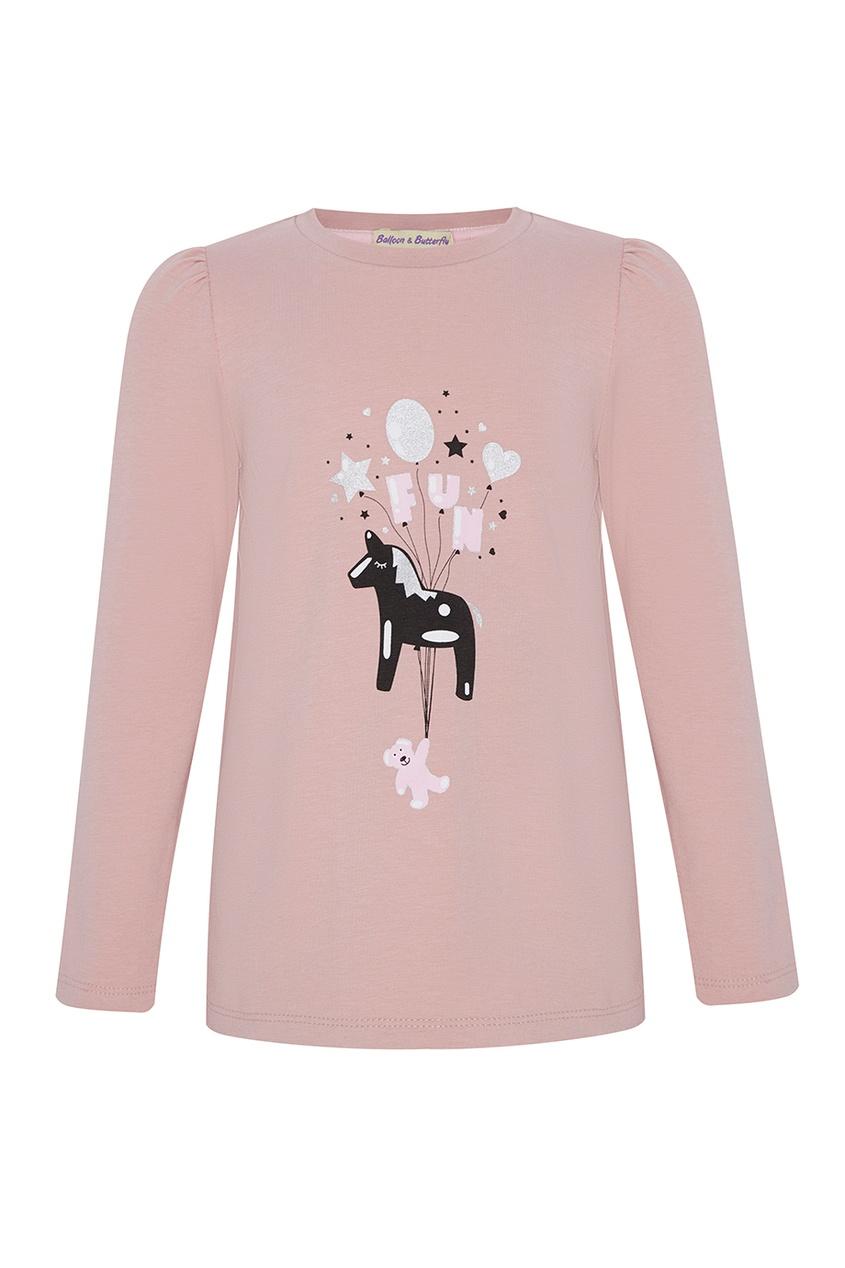 Розовый лонгслив с принтом