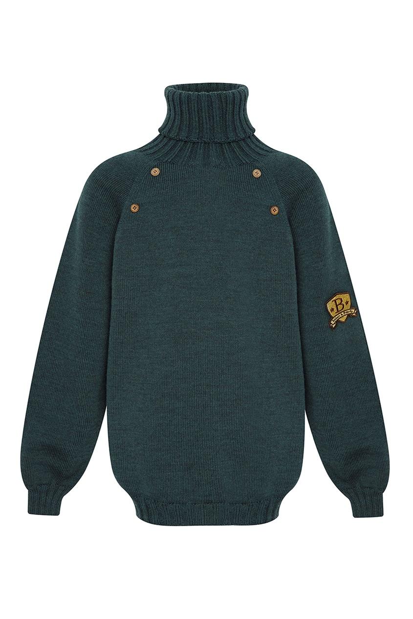 Зеленый шерстяной свитер