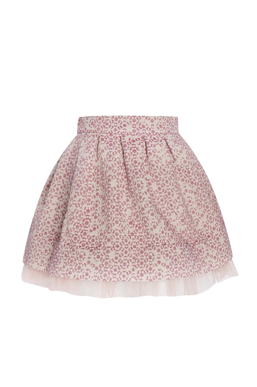 Розовая юбка из жаккарда