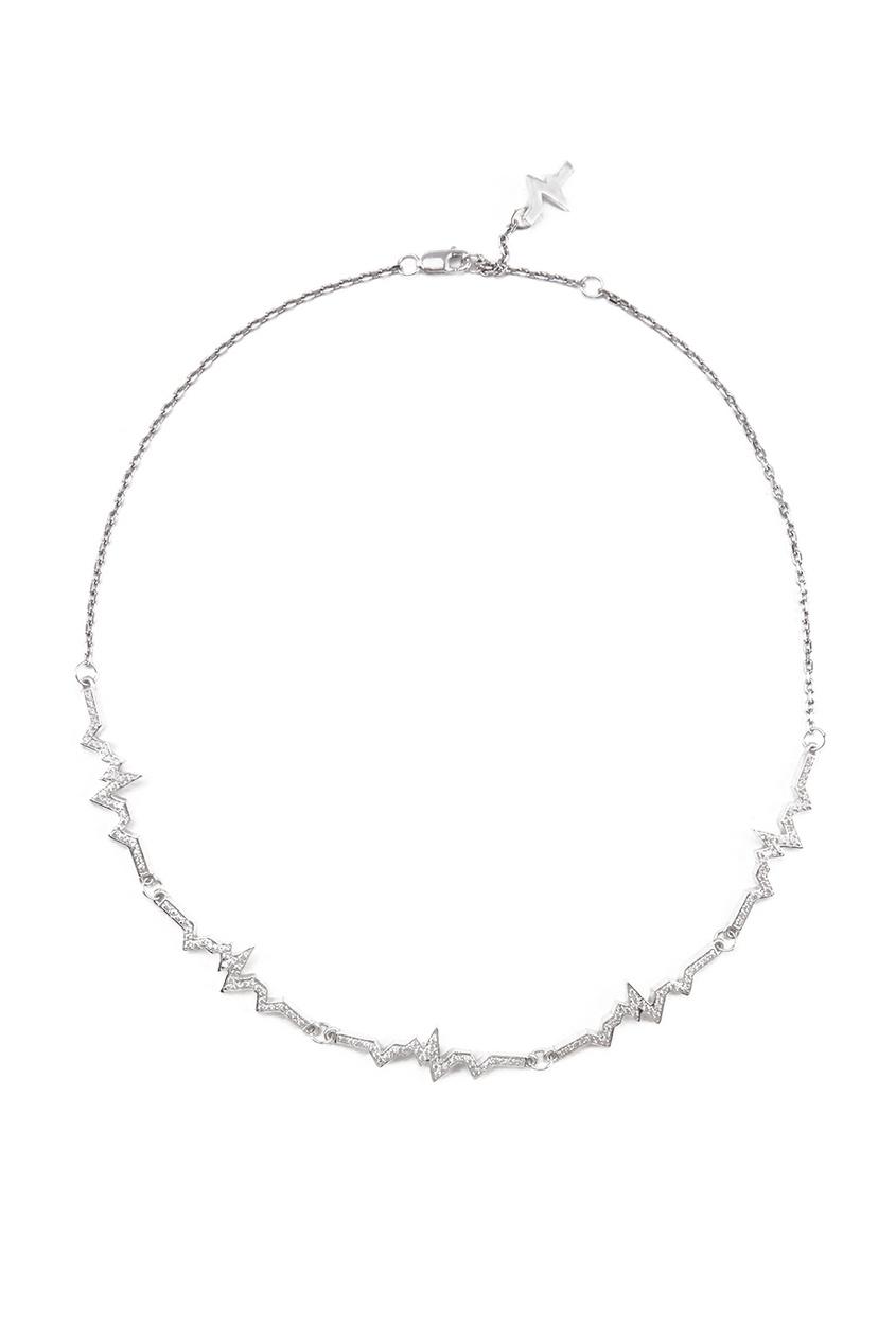 Caviar Jewellery Серебряное колье-чокер с фианитами женские колье jv серебряное колье с куб циркониями nl h0112 001 wg