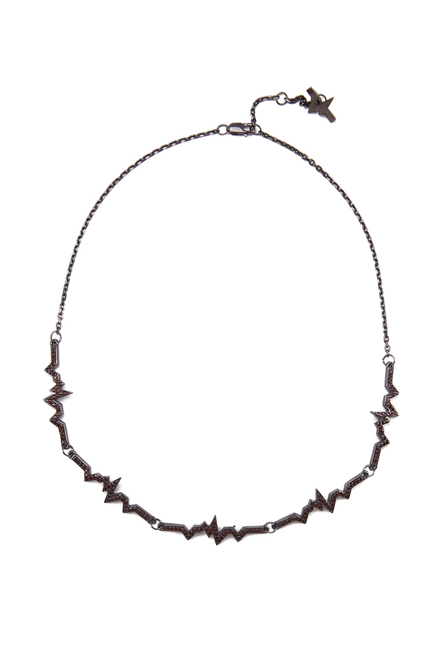 Caviar Jewellery Серебряное колье-чокер с гранатами